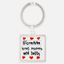 Giovanna Loves Mommy and Daddy Square Keychain