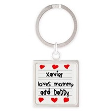 Xavier Loves Mommy and Daddy Square Keychain