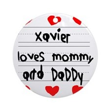 Xavier Loves Mommy and Daddy Round Ornament