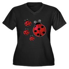 Four ladybugs Women's Plus Size V-Neck Dark T-Shir