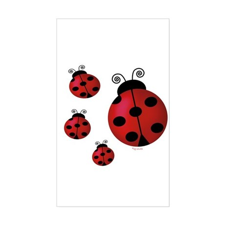 Four ladybugs Rectangle Sticker
