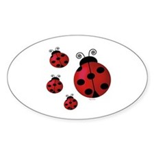 Four ladybugs Oval Stickers