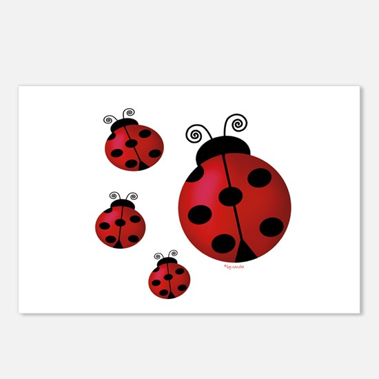 Four ladybugs Postcards (Package of 8)