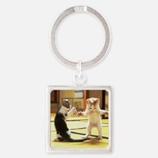 Kung Fu Kittens Square Keychain