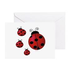 Four ladybugs Greeting Cards (Pk of 10)