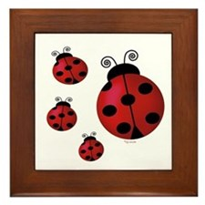 Four ladybugs Framed Tile