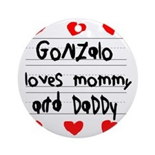 Gonzalo Loves Mommy and Daddy Round Ornament