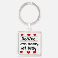 Gonzalo Loves Mommy and Daddy Square Keychain