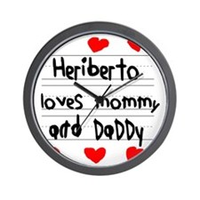 Heriberto Loves Mommy and Daddy Wall Clock