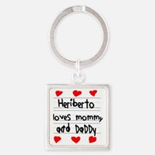 Heriberto Loves Mommy and Daddy Square Keychain