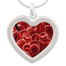 Red blood cells, SEM Silver Heart Necklace