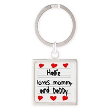 Hallie Loves Mommy and Daddy Square Keychain