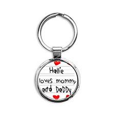 Hallie Loves Mommy and Daddy Round Keychain