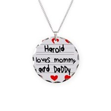 Harold Loves Mommy and Daddy Necklace Circle Charm
