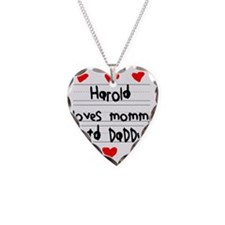 Harold Loves Mommy and Daddy Necklace Heart Charm