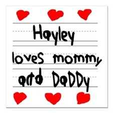"""Hayley Loves Mommy and D Square Car Magnet 3"""" x 3"""""""