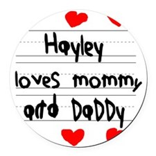 Hayley Loves Mommy and Daddy Round Car Magnet
