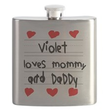 Violet Loves Mommy and Daddy Flask