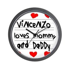 Vincenzo Loves Mommy and Daddy Wall Clock