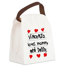 Vincenzo Loves Mommy and Daddy Canvas Lunch Bag