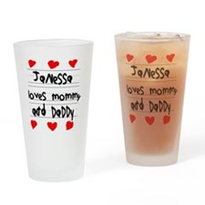 Janessa Loves Mommy and Daddy Drinking Glass