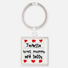 Janessa Loves Mommy and Daddy Square Keychain