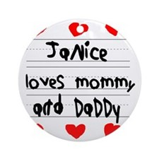 Janice Loves Mommy and Daddy Round Ornament