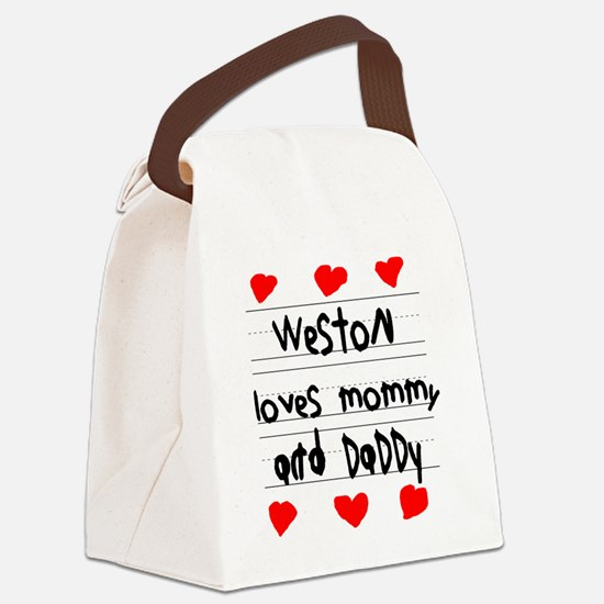 Weston Loves Mommy and Daddy Canvas Lunch Bag