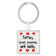 Jeffery Loves Mommy and Daddy Square Keychain