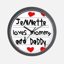 Jennette Loves Mommy and Daddy Wall Clock