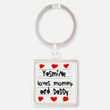 Yasmine Loves Mommy and Daddy Square Keychain