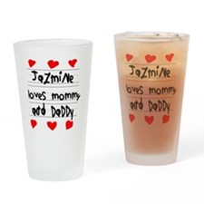 Jazmine Loves Mommy and Daddy Drinking Glass