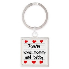 Joana Loves Mommy and Daddy Square Keychain