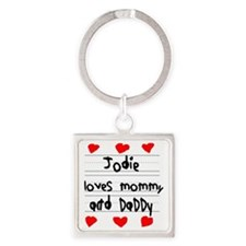 Jodie Loves Mommy and Daddy Square Keychain