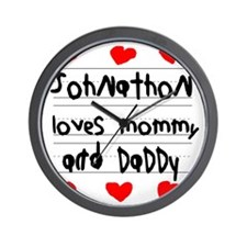 Johnathon Loves Mommy and Daddy Wall Clock