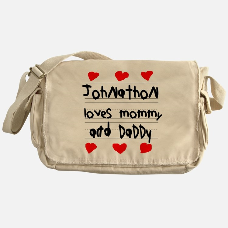 Johnathon Loves Mommy and Daddy Messenger Bag