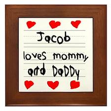 Jacob Loves Mommy and Daddy Framed Tile