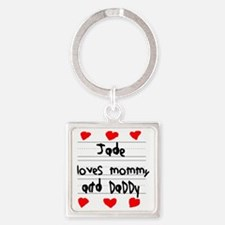 Jade Loves Mommy and Daddy Square Keychain