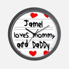 Jamel Loves Mommy and Daddy Wall Clock
