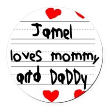 Jamel Loves Mommy and Daddy Round Car Magnet