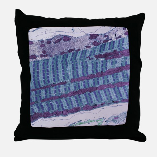 Skeletal muscle fibre, TEM Throw Pillow