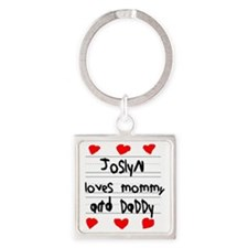 Joslyn Loves Mommy and Daddy Square Keychain