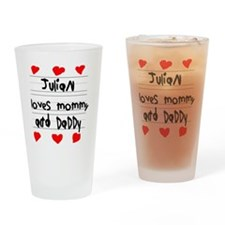 Julian Loves Mommy and Daddy Drinking Glass