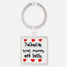 Jaqueline Loves Mommy and Daddy Square Keychain