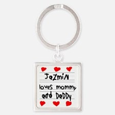 Jazmin Loves Mommy and Daddy Square Keychain