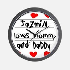 Jazmin Loves Mommy and Daddy Wall Clock