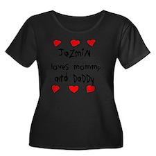 Jazmin L Women's Plus Size Dark Scoop Neck T-Shirt
