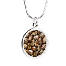 Seeds of the castor oil plan Silver Round Necklace