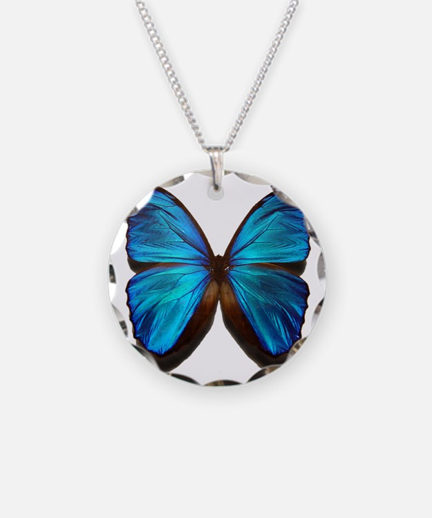 blue butterfly two Necklace