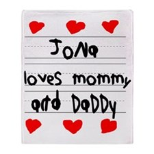 Jona Loves Mommy and Daddy Throw Blanket